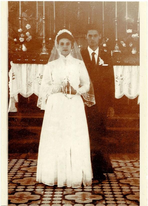 Casamento Nida Darós e Gentil Cecato - 28-12-1957 - Igreja Matriz Nova Trento