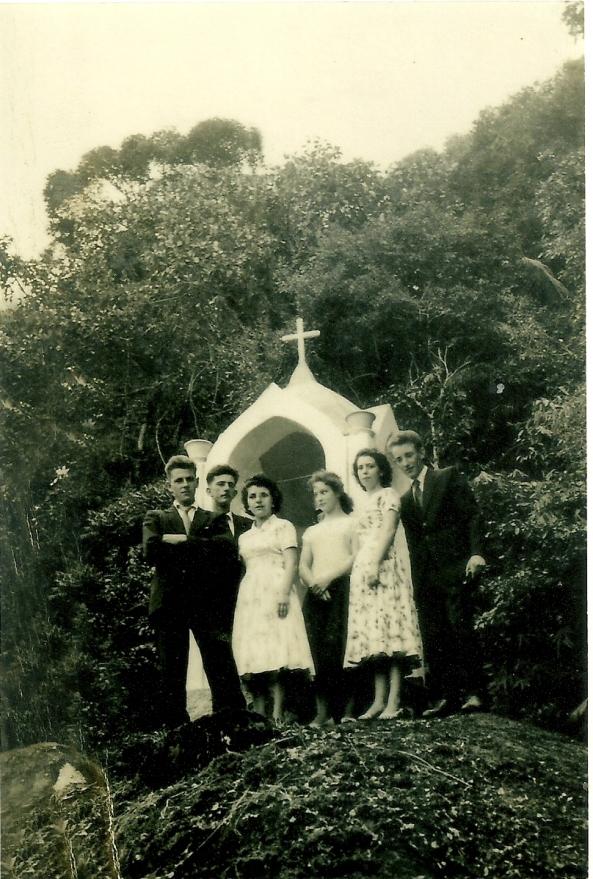 Dionisio Cadori, Belarmino Visentainer, Irene Cattani, Anita Cipriani, Rosa Visentiner, Galdino Feller - São Carlos - Morro da Cruz - 1961