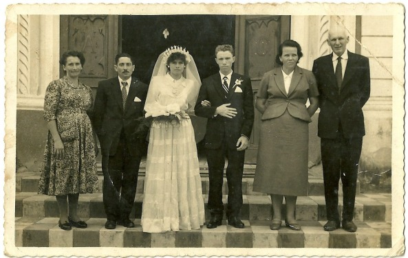 Benta Tomazoni Tridapalli, Domingos Tridapalli, Maria Tomazoni, Valmor Darossi, Luiz Dalsenter e Esposa.