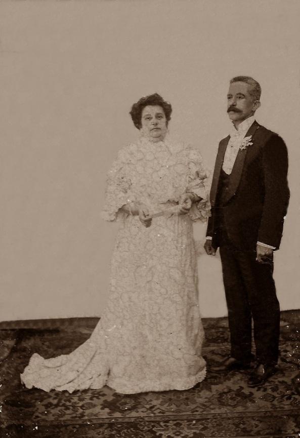 Bodas de Prata - 1908, Hipólito Boiteux e esposa Alzira. Casou em 1883.